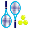 Tennis rackets and balls a set of Royalty Free Stock Photography