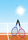 Tennis rackets illustration of with balls Royalty Free Stock Images