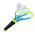 Tennis rackets and shuttle isolated on white Stock Photography