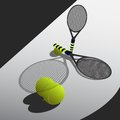 Tennis rackets under spotlight balls and for Stock Photo