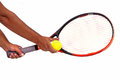 Tennis racquet and ball isolated Stock Photography