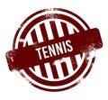 Tennis - red round grunge button, stamp Royalty Free Stock Photo
