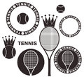 Tennis set isolated objects on white background vector illustration eps Royalty Free Stock Photography