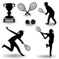 Tennis silhouettes Stock Photography