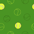 Tennis sport ball graphic art green background seamless pattern illustration Royalty Free Stock Photo