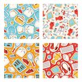 Tennis sport equipment stickers seamless pattern. Supllies for sport game vector illustration. Clothing for sportsmen, T