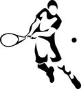 Tennis stylized player black and white illustration Stock Images