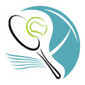 Tennis symbol racket and ball at court Royalty Free Stock Photo