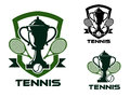 Tennis tournament badges and logo sport design for labels or emblems includes heraldic shields with crossed rackets balls trophy Royalty Free Stock Images