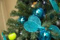 Tennis tree christamas decoration with rackets and ball Stock Images