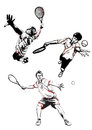 Tennis trio illustration of three players Stock Photo