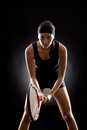 Tennis woman black ready to play racket Royalty Free Stock Photo