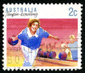 Tenpin Bowling Australian Postage Stamp Royalty Free Stock Photo