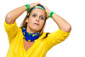 Tense brazilian supporter woman for a misseg goal chance on white background Stock Photos