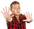 Tense Man Reaching Out Royalty Free Stock Photo