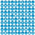 100 tension icons set blue