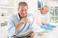 Tension between retired couple Stock Photos