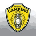 Tent; adventure; adventure logo; backpack; badge; bear; camp; campfire; climbing logo; everest; expedition; explorer; forest; hiki Royalty Free Stock Photo