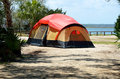 Tent on beach Royalty Free Stock Photo