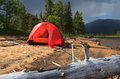 Tent beach on a sandy riverbank in lapland sweden Stock Photos