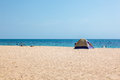 Tent on a beach in tunisian summer Royalty Free Stock Image