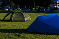 Tent camp on green lawn Royalty Free Stock Photo
