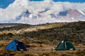 Tent camp on mount Kilimanjaro Royalty Free Stock Images