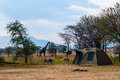 Tent camp in safari Stock Photo