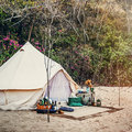 Tent Camp Wild Journey Resting Outdoor Trip Concept Royalty Free Stock Photo