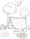 Tent coloring page Royalty Free Stock Photo