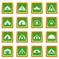 Tent forms icons set green