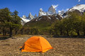 Tent at the Mount Fitz Roy.Los Glaciares National Park, Royalty Free Stock Photo