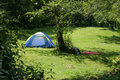 Tent near a forest Royalty Free Stock Photo