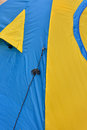 Tent pattern color of yellow and blue of tents shown as outdoor goods and colored Royalty Free Stock Photo