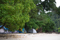 Tent set on sand beach for staying overnight and with tree cover