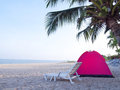 Tent on tropical beach Royalty Free Stock Photo