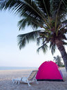 Tent on tropical beach Stock Photo