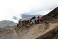 Tent on volcano with stall the slope of bromo indonesia Stock Images