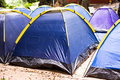 Tents on campsite closeup of group of blue Royalty Free Stock Photography