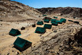 Tents in desert image of green an african Royalty Free Stock Photography