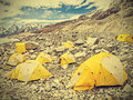 Tents in everest base camp in cloudy day nepal vintage retro style Royalty Free Stock Photos