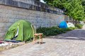 Tents of homeless people at riverside seine in paris france Royalty Free Stock Photography