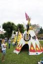 Tents indians and fun for children x jubilee festival of pipes in przemysl przemyÅ›l poland city przemysl Stock Image