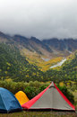 Tents at mountain campsite colorful a high kamikochi in nagano japan Royalty Free Stock Photography