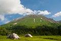 Tents near the mount oshten russia north caucasus Stock Image