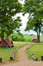 The tents with the walkway in thailand Royalty Free Stock Photo