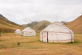 Tents Yurts - homes of the local nomadic asian people in a dry grass mountain valley Stock Images