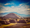 Teotihuacan pyramids vintage retro hipster style travel image of travel mexico background ancient pyramid of the sun mexico Royalty Free Stock Images