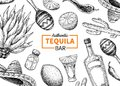 Tequila bar vector label. Mexican alcohol drink drawing. Bottle
