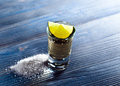 Tequila with salt and lime Royalty Free Stock Photo
